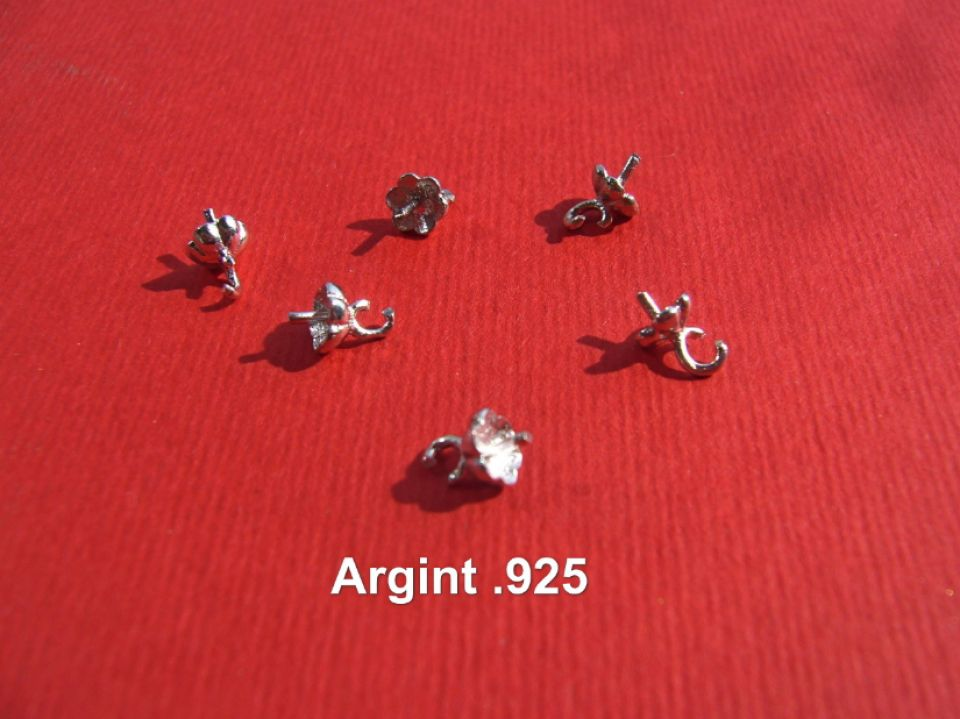 Agatatoare pentru margica semi-gaurita din argint .925 rodiat aprox 7x4 mm