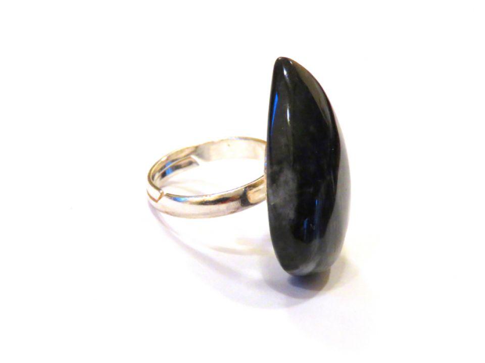Inel deosebit din Argint 925 si Gabbro lacrima - IN666 - Inel negru, inel reglabil din pietre semipretioase, cadou romantic