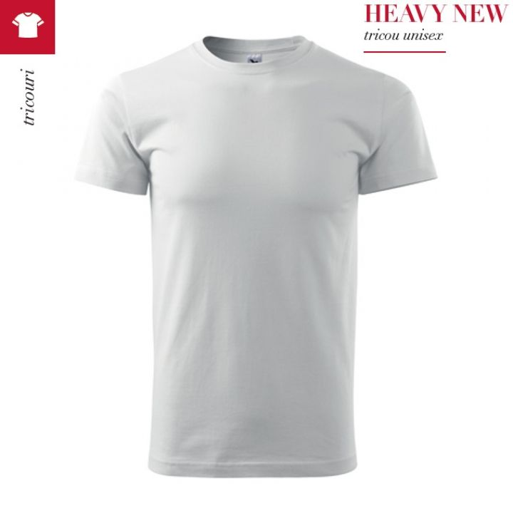 Tricou alb unisex, Heavy New