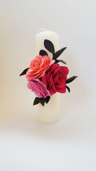 Lumanare Nunta Botez Cu Trandafiri Din Fetru Breslo