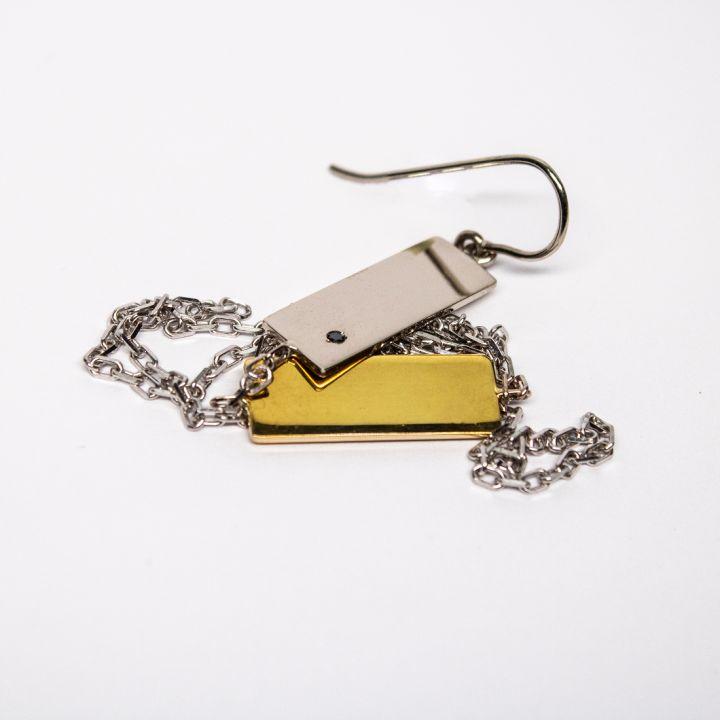Cercel lung din aur alb și galben de 14k cu lănțișor