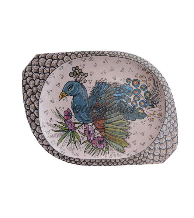 Tavita din lemn,pictata manual ,,Peacock''