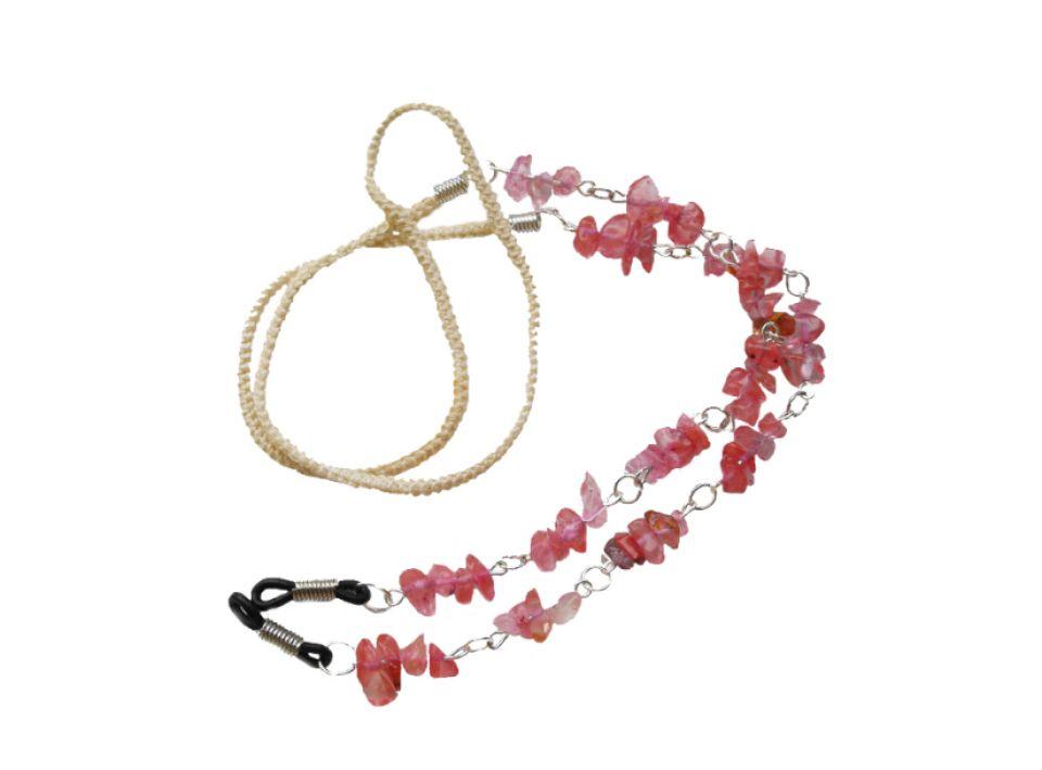 Lant ochelari din snur si margele  semipretioase - cuart roz