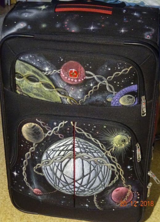 pictura pe rucsace genti, valize