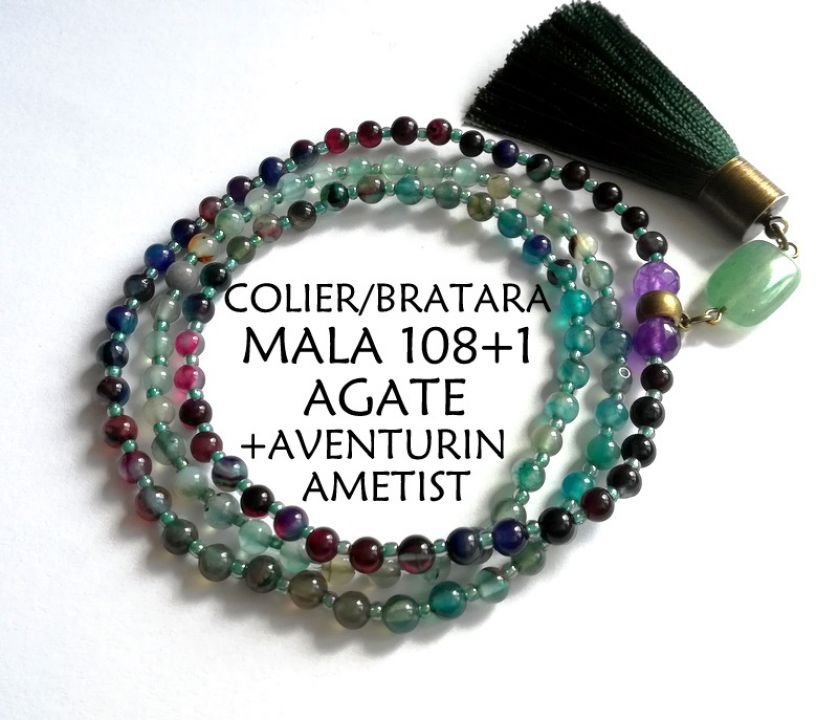 Colier-Bratara Mala*108+1*Agate+ametist+aventurin*Colier pentru meditatie si rugaciune
