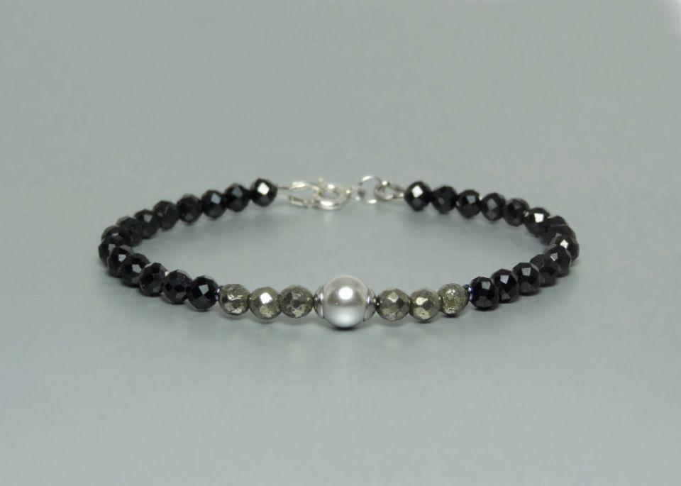 Bratara cu pirita, spinel negru & perla Swarovski