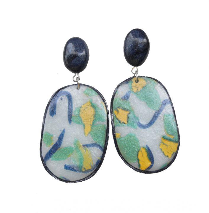 Polymer Clay Drop Earrings Abstract Pattern, Geometric earrings, Casual style looks, , Statement dangles, Colourful earrings, Textured earrings, Abstract earrings(3)