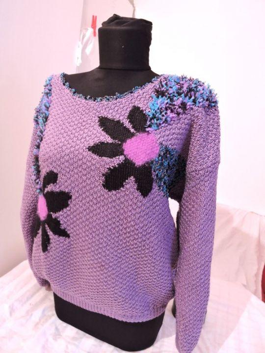bluza pulover mov tricotat manual