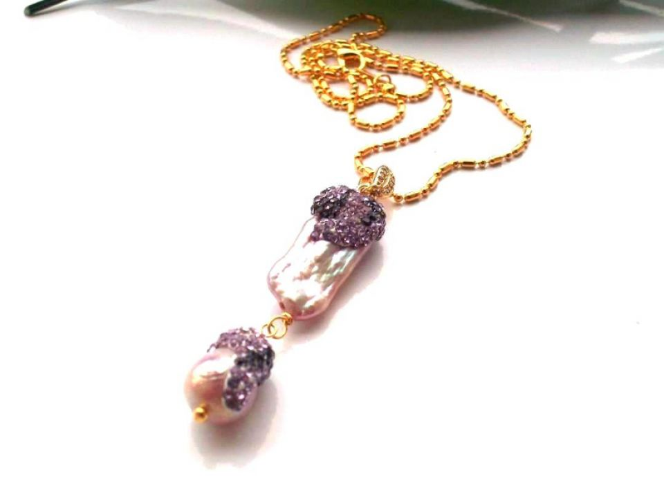 Colier gold plated&perle