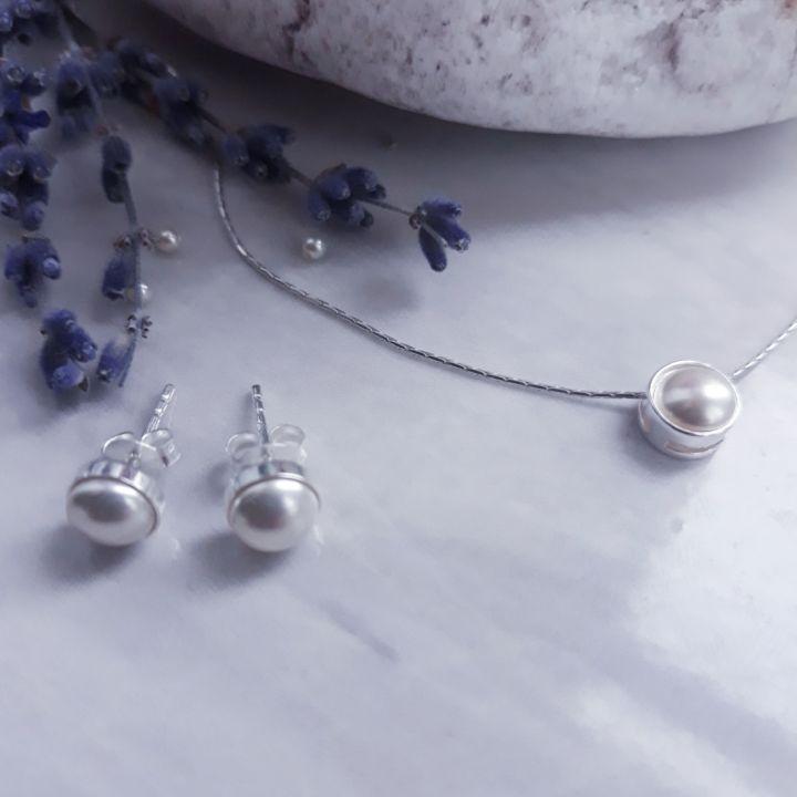 Set argint si perle Swarovski, Colier din argint si perla Swarovski, Cercei din argint si perla, cadou domnisoare de onoare, cadou aniversare / Craciun / 8 martie / Dragobete / Valentine's Day sotie / prietena