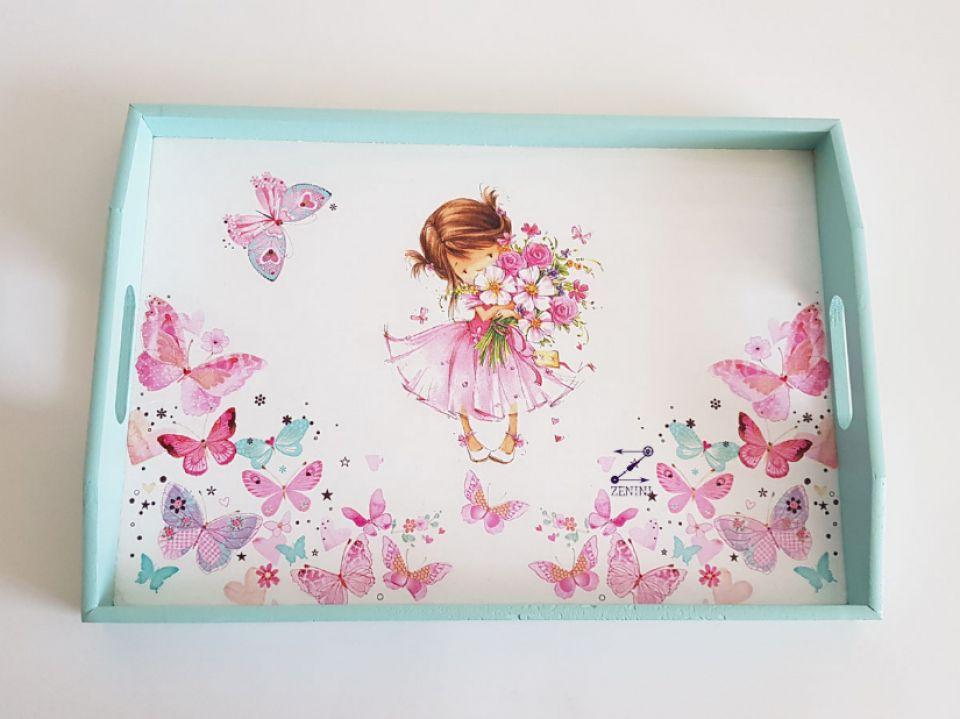Set mot fluturi, set pentru taierea motului, set mot cu printesa si fluturi, set mot fetita, set turta, tava mot fetita, set mot roz