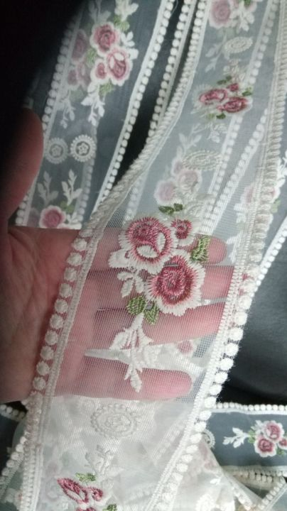 (1m) Broderie (8cm) ivory cu flori