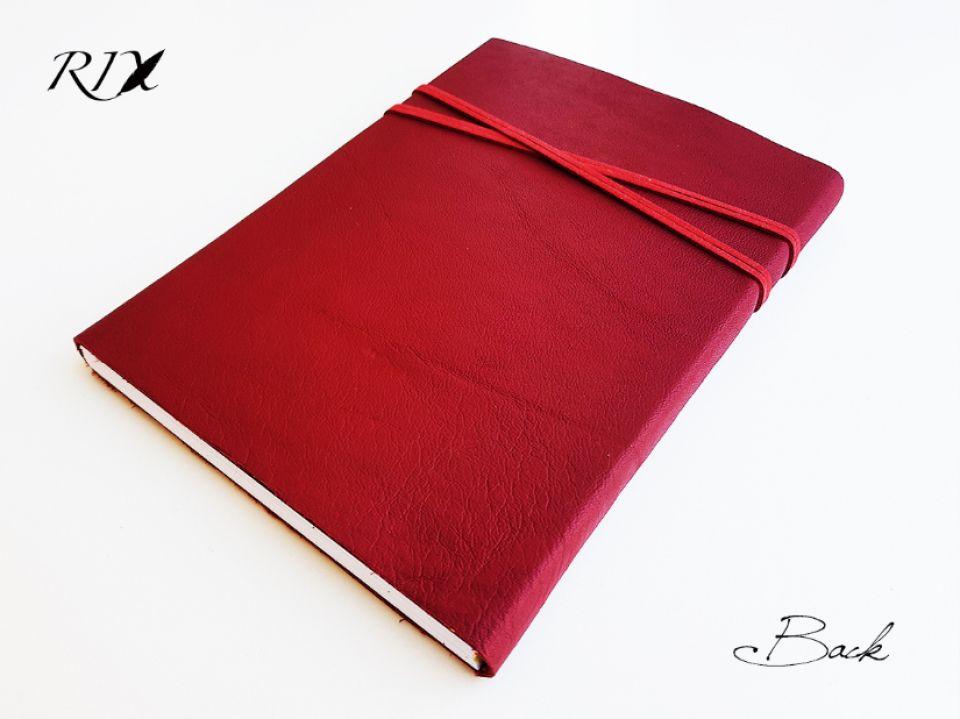 Jurnal (mare) de călătorie cu copertă de piele naturală roșu-bordo