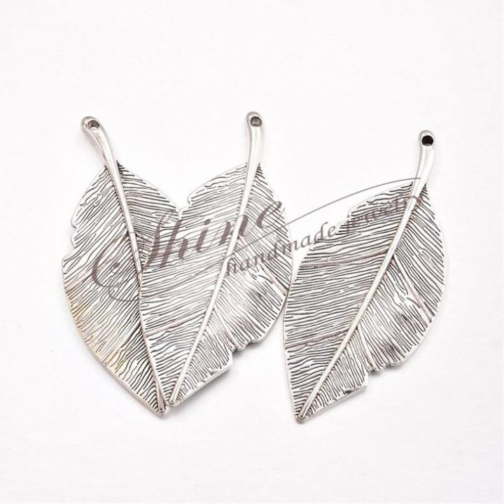 Pandantiv frunza, argintiu antichizat, 81x35x3mm