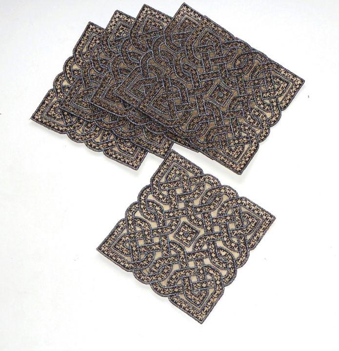 Suport de pahare model celtic brodat cu ata metalica platina