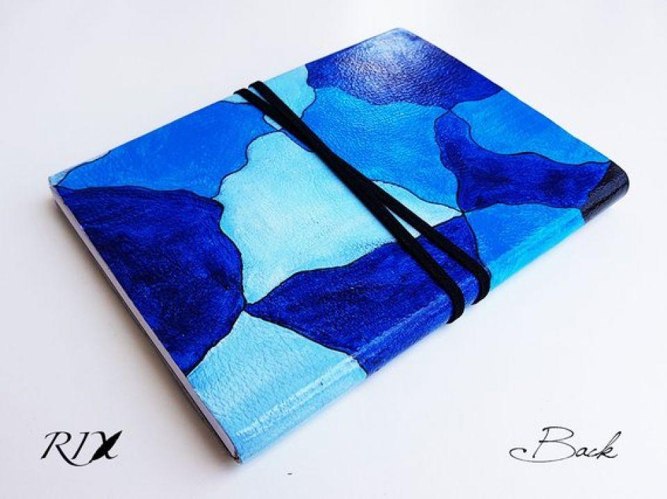 Jurnal (mare) de călătorie MOZAIC albastru - Jurnal de călătorie cu copertă de piele naturală PICTATĂ