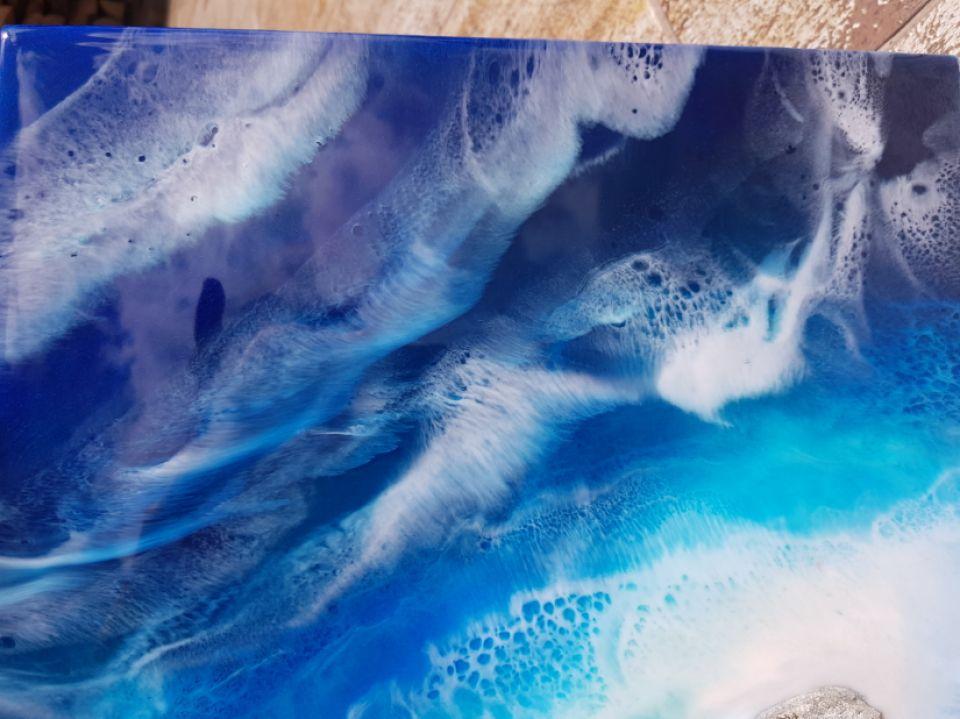 Tablou din rasina pe suport lemn, Tablou ocean, Tablou plaja