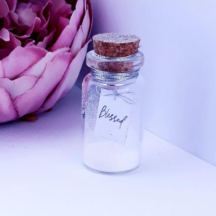 "Mesaj in sticla "" Blessed"", felicitare, mesaj motivational, message in a bottle, cadou prietena/ prieten, cadou iubita/ iubit, cadou sotie/ sot, cadou aniversare, Craciun, Valentine's day, martisor, marturii nunta"